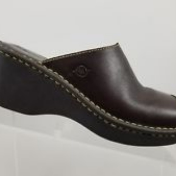 Born Shoes Low Wedge Mules Euc Size 6365 Brown Leather Poshmark